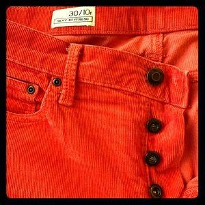Tomato red gap 1969 button fly corduroys